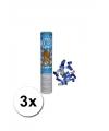 3 confetti kanonnen in de kleur blauw/wit