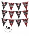 3 piraten themafeest slingers zwart/rood 6 meter