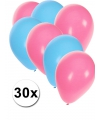 Lichtblauwe en lichtroze ballonnen 30 stuks
