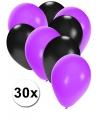 Zwarte en paarse ballonnen 30 stuks