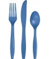 Plastic blauw feest bestek 24 delig