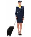 Voordelige stewardessen kostuum blauw