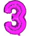 Roze ballon cijfer 3