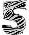 Zebra ballon cijfer 5