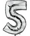 Zilveren ballon cijfer 5