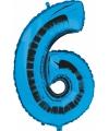 Blauw ballon cijfer 6