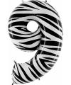 Zebra ballon cijfer 9