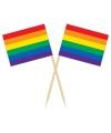 Houten cocktailprikkers regenboog vlag 50x