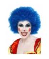 Blauwe clown pruik voor volwassenen