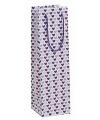 Papieren wijntasje met paarse hartjes 10 x 35 cm