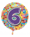 Gekleurde folie ballon 6 jaar