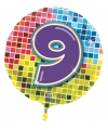 Gekleurde folie ballon 9 jaar
