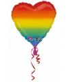 Folie ballonnen regenboog hart 43 cm