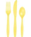 Plastic geel feest bestek 24 delig