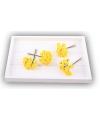 Gele roosjes van satijn 12 cm