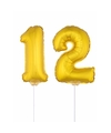 Folie ballonnen cijfer 12 goud 41 cm