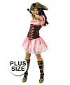 Grote maat roze korte musketiers jurk