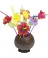 Rietjes met gekleurde bloemen 12 stuks