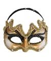Heren oogmasker goud met zwart