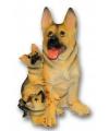 Duitse Herder met puppies beeldje zittend 35 cm