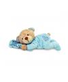 Blauwe pluche beer met kussen 15 cm