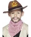 Bruine sherrif hoed voor kinderen