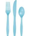 Plastic lichtblauw feest bestek 24 delig