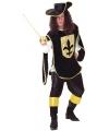 Musketiers outfit heren zwart/goud