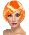 Bob pruik oranje voor dames