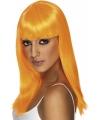 Dames pruik oranje stijl haar