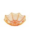 Oranje fruitschaal met spinnen decoratie