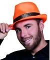 Oranje trilby hoed met gouden band