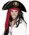 Zwarte piratenhoed zwart met goud