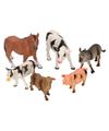 Plastic boerderij dieren 6 stuks