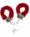 Rode handboeien van pluche