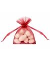 20 kleine rode zakjes van organza
