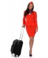Voordelige stewardessen kostuum rood