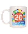 Cadeau 20 jaar mok / beker ballon thema