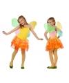 Meisjes vlinder kostuum geel/oranje