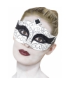 Gothic zwaan oogmasker zwart met wit